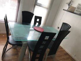 Glass large dining room table