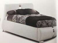 New 4ft6 double white leather bed free delivery