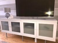 White gloss TV unit with 4 storage cupboards
