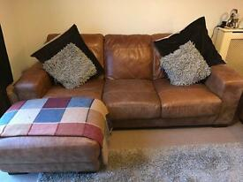 Brand New 3 Seat Leather Sofa with Chaise Long & 2 Seater