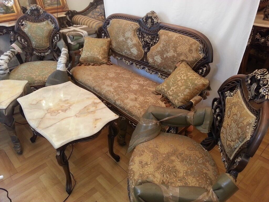 DELUXE FRENCH ANTIQUE LOUIS XV STYLE SOFA SETTEE SALON 3PC SUITE ...