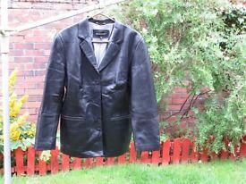 Ladies blazer style soft black leather jacket size 14