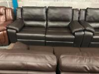 High retail brown leather 3 seater sofa with matching chair