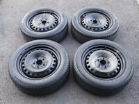 Four Ford Mondeo MK3 Steel Wheels With Good Tyres. 205/55/16.