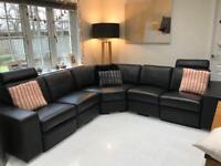 Corner black leather sofa