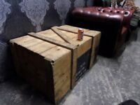 Fantastic HUGE Industrial Rustic Wood Crate Coffee Table One Off - Delivery Available