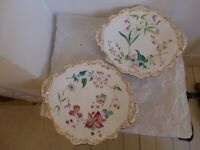 Pair of Vintage Bone China Sandwich Plates Cake Plates.
