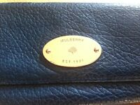 Mulberry Daria Continental Wallet Dark Blue Leather Gold Clutch Fold Over