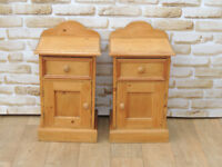 Pair of Unique Country Pine Bedsides (Delivery)