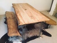 Bespoke Oak Dining Table & Benches