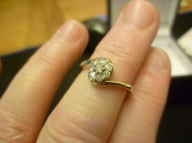 9ct yellow gold 25pt diamond ring size L