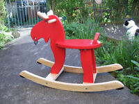 Ikea wooden rocking moose red. New