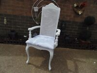 STUNNING SOLID WOOD ARMCHAIR IN EXCELLENT CONDITION PAINTED WITH LAURA ASHLEY PALE DOVE GREY