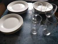 12 piece dinner set (plates and bowls) + 4 glasses