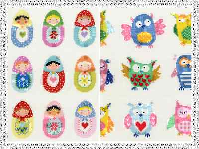 Bothy Threads Slightly Dotty Cross Stitch Kits - Dotty Owls, Dotty Russian Dolls