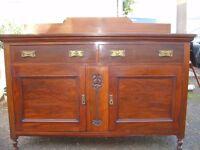 Art Nouveau sideboard, antique side cabinet, dresser from solid walnut, dining dressing table.