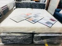 **NADZ NEW SHANEEL SUPERKINGSIZE(6feet wide) BED/MEMORY THICK COMFY MATTRESS/BLACK CRUSH DIAMANTE HE