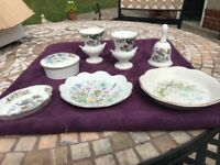 Selection of bone China. Wedgwood and other ornamants