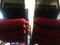 6 Modern Savvy Office and Breakout Room chairs with 6 chairs (Red & Black) - Table NOT Included