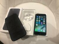 New iPhone 7 128GB Black Vodafone TalkMobile Lebara Boxed with Accessories and Sena Leather Case