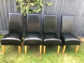4 leather back dining chairs