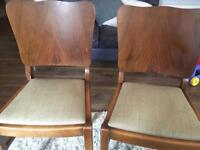 Solid wood and tweed pair of chairs