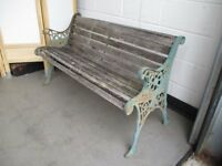 VINTAGE TRADITIONAL CAST IRON ENDED GARDEN BENCH FOR REFURB