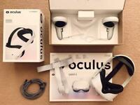 OCULUS QUEST 2 64GB VR HEADSET + ELITE STRAP + LINK CABLE PACKAGE. FREE UK SHIPPING