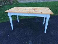 Solid pine refurbished farmhouse dining kitchen table