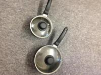 2 Sauce pans Frying cooking pots hob lids