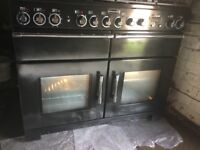 Rangemaster `Excel 110 Black Dual Fuel cooker in pristine condition.