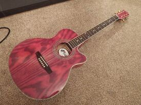 Red Acoustic guitar. Nicely set up - New strings fitted - Tiger