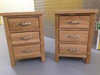 Pair oak bedside cabinets tables Chest drawers furniture Laura Ashley habitat loaf oka John Lewis