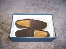 Men's John Lewis Suede Penny Loafer - Size 8 - Colour Chocolate