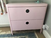IKEA BUSUNGE chest of drawers light pink