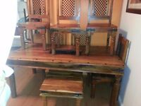 Lovely large solid wood dining table and 4 chairs & mach coffee table.