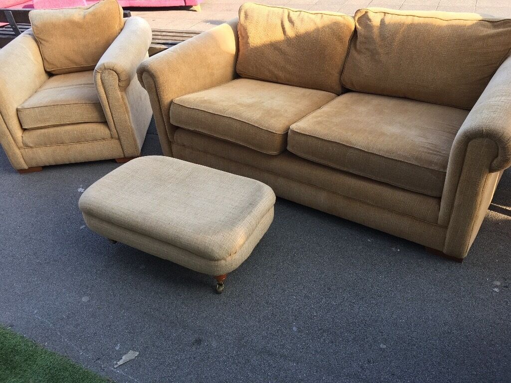 FABRIC SOFA SET 2 + 1 seater & Footstool in Good Condition
