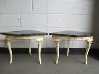PAIR OF THREE LEGGED SHABBY CHIC STYLE BEDSIDE TABLES WITH FAUX MARBLE TOPS