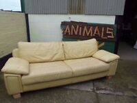 Large Yellow leather Retro Style Sofa Deliver Available £20
