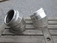 "Selkirk 150mm 6"" stainless steel 45o degree chimney flue elbow twin wall incl locking band, USED"