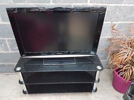 "PANASONIC 37"" LCD flat screen TV inc 3-tier glass stand"