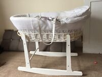 White whicker rocking moses basket