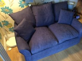 2 seater Sofa - 5 cushions. Blue removable machine washable covers (just washed)