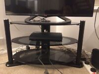 TV stand black glass oval