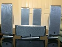 JBL HOME CINEMA SPEAKERS SET, 5 SPEAKERS, REAL HIGH QUALITY SOUND, IMMICULATE WORKING CONDITION.