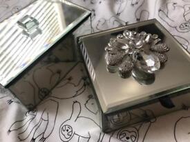 x2 glass mirror trinket jewellery boxes
