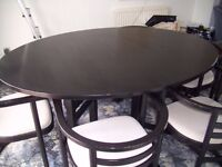 ##REDUCED## Black ash dining room table & 6 carver chairs
