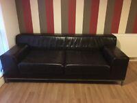 3 Seater Ikea Sofa in brown leather