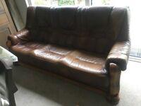 Leather/Oak 3 Seater Sofa