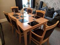 Solid BEECH WOOD extending dining table with 6 upholstered chairs - kitchen table